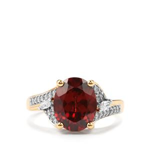 Zanzibar Zircon & Diamond 18K Gold Lorique Ring MTGW 4.87cts