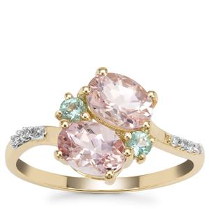 Aquaiba™ Beryl, Cherry Blossom™ Morganite Ring with Diamond in 9K Gold 1.58cts