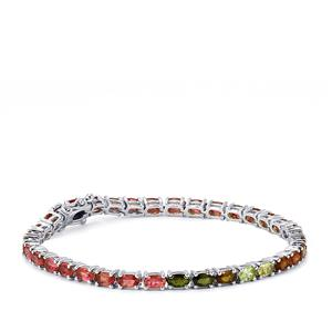 7.61ct Rainbow Tourmaline Sterling Silver Bracelet