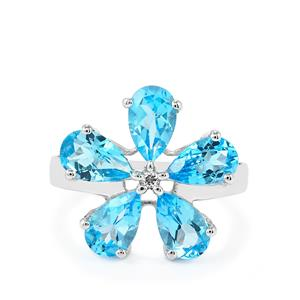 4.76ct Swiss Blue & White Topaz Sterling Silver Ring