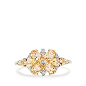 Ouro Preto Imperial Topaz & White Zircon 9K Gold Ring ATGW 1.62cts