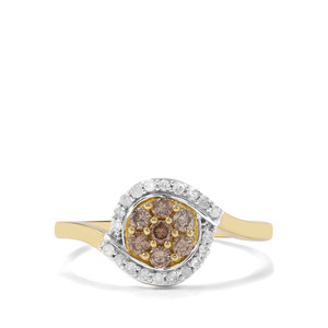 1/2ct Champagne & White Diamond 9K Gold Ring