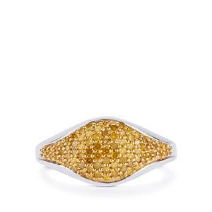 1/2ct Yellow Diamond 9K White Gold Ring