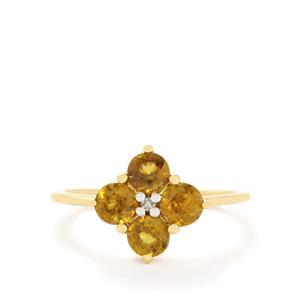 Ambilobe Sphene & Diamond 9K Gold Ring ATGW 1.48cts