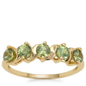 Green Dragon Demantoid Garnet Ring in 9K Gold 1.10cts