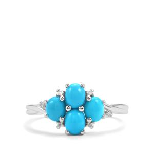 Sleeping Beauty Turquoise Ring with Diamond in Sterling Silver 1.26cts