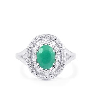 Carnaiba Brazilian Emerald Ring with Zircon in Sterling Silver 1.76cts