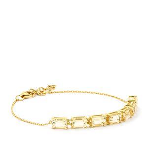3.90ct Champagne Danburite 10K Gold Bracelet