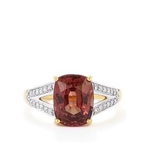 Color Change Garnet Ring with Diamond in 18k Gold 5.25cts