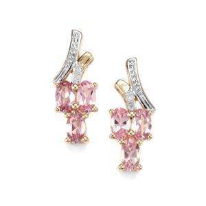 Mahenge Pink Spinel & Diamond 9K Gold Earrings ATGW 1.54cts