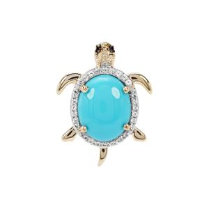 Sleeping Beauty Turquoise, Black Spinel Tortoise Pendant with White Zircon in 9K Gold 2.38cts