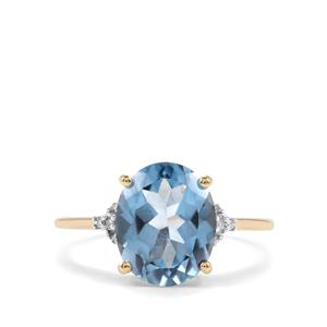 Santa Maria Topaz Ring with Diamond in 10K Gold 4.21cts