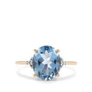 Santa Maria Topaz & Diamond 10K Gold Ring ATGW 4.21cts