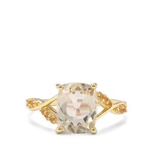 Serenite & Diamantina Citrine 9K Gold Ring ATGW 2.82cts