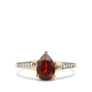 Madeira Citrine & White Zircon 9K Gold Ring ATGW 1.16cts
