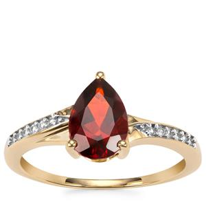 Madeira Citrine Ring with White Zircon in 9K Gold 1.16cts