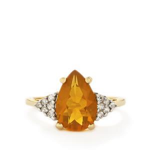 AAA Honey American Fire Opal & White Zircon 10K Gold Ring ATGW 2.49cts