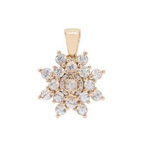 Ceylon White Sapphire Pendant in 9K Gold 1.71cts