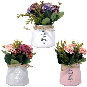 Artificial Potted Flowers in Inspirational Ceramic Pot - Choice of Three
