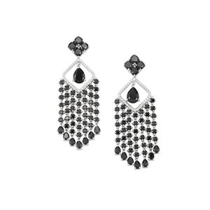 Black Spinel & White Topaz Sterling Silver Earrings ATGW 16.59cts