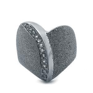 White Topaz Black Rhodium Plated Sterling Silver Stardust Viorelli Ring