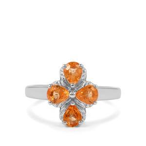 1.70ct Mandarin Garnet Sterling Silver Ring