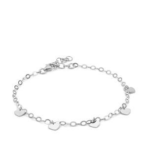 "7"" Sterling Silver Altro Heart Bracelet 1.93g"