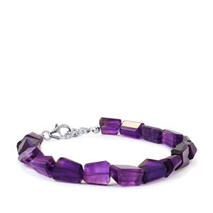 58ct Zambian Amethyst Sterling Silver Graduated Tumbled Bracelet