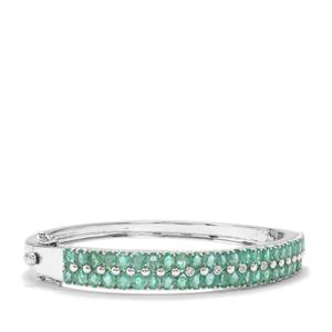 Zambian Emerald Oval Bangle with White Topaz in Sterling Silver 7.90cts