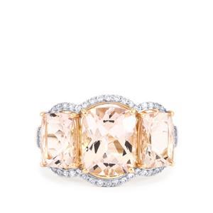 Alto Ligonha Morganite Ring with White Zircon in 10K Gold 5.50cts