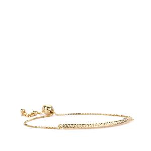 9K Gold Diamond Cut Bar Box Chain Slider Bracelet 1.98g