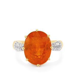 Tangerine Garnet Ring with Diamond in 18k Gold 9.12cts