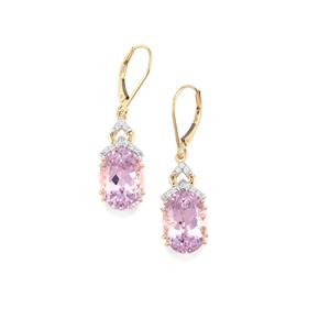 Mawi Kunzite Earrings with Diamond in 18K Gold 14.76cts