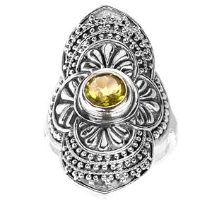 Peridot Samuel B Ring in Sterling Silver 1.3ct