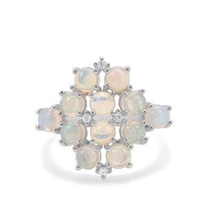 Ethiopian Opal & White Zircon Sterling Silver Ring ATGW 2.17cts