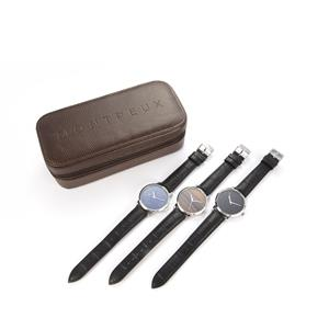 Montreux Swiss Movement Leather Watch 38mm with Genuine Gemstone Dial