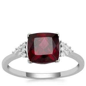 Tocantin Garnet Ring with Diamond in 9K White Gold 2.34cts