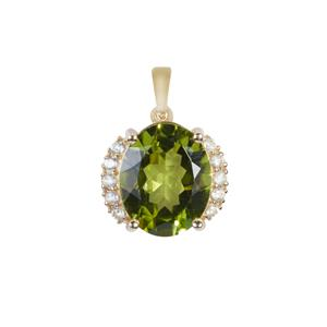 Red Dragon Peridot Pendant with White Zircon in 9K Gold 4.23cts