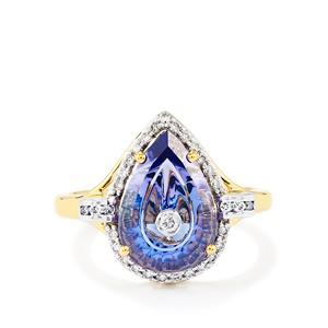 Lehrer TorusRing AA Tanzanite Ring with Diamond in 18K Gold 2.90cts
