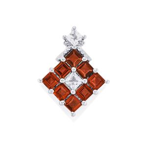 Mozambique Garnet Pendant with White Topaz in Sterling Silver 2.15cts