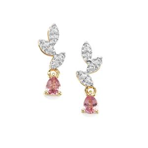 Sakaraha Pink Sapphire & White Zircon 10K Gold Earrings ATGW 0.49cts
