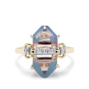 Lehrer Cosmic Obelisk Rose De France Amethyst, Turquoise & Diamond 9K Gold ATGW 6.35cts