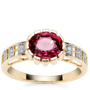 Savanna Pink Garnet Ring with Diamond in 9K Gold 2.04cts
