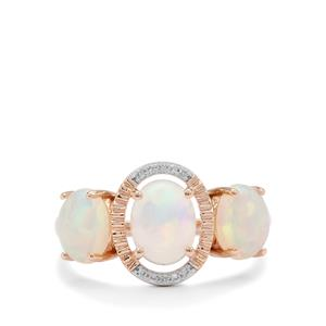 Ethiopian Opal Ring with White Zircon in 9K Rose Gold 1.90cts