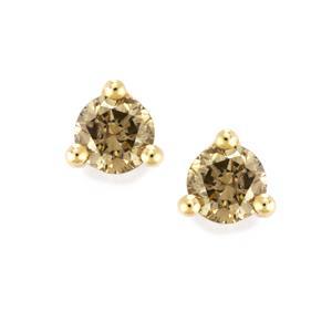 Champagne Diamond Earrings in 9K Gold 0.52ct