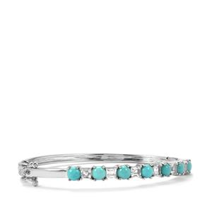 Sleeping Beauty Turquoise Oval Bangle with White Topaz in Sterling Silver 5.26cts