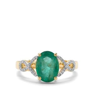 Zambian Emerald & Diamond 18K Gold Ring MTGW 2.49cts