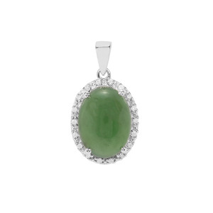 Imperial Serpentine & White Zircon Sterling Silver Pendant ATGW 11.06cts