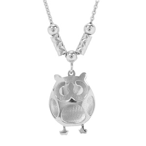 """18"""" Sterling Silver Classico Rolo Chain with Owl Charm 2.87g"""