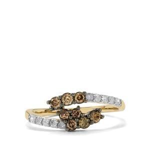 1/2ct Champagne & White Diamond 10K Gold Ring